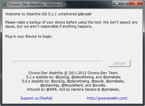 Absinthe V2.0 Jailbreak iOS 5.1.1  Step 1