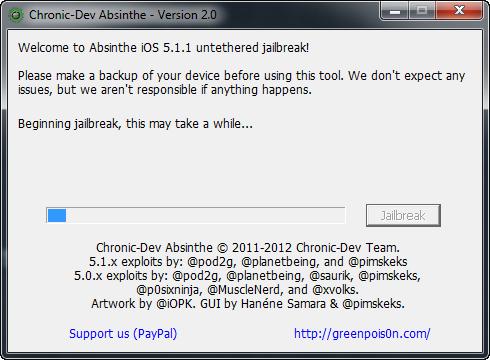 Absinthe V2.0 Jailbreak iOS 5.1.1  Step 3