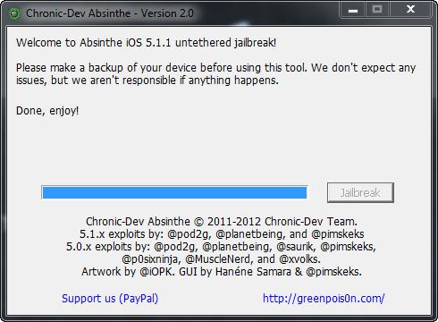 Absinthe V2.0 Jailbreak iOS 5.1.1  Step 4