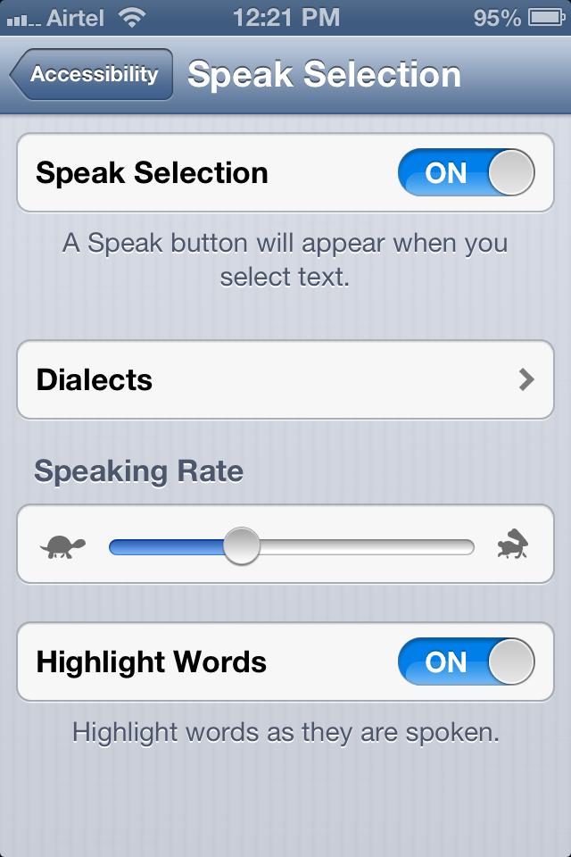 Speak Selection iPhone